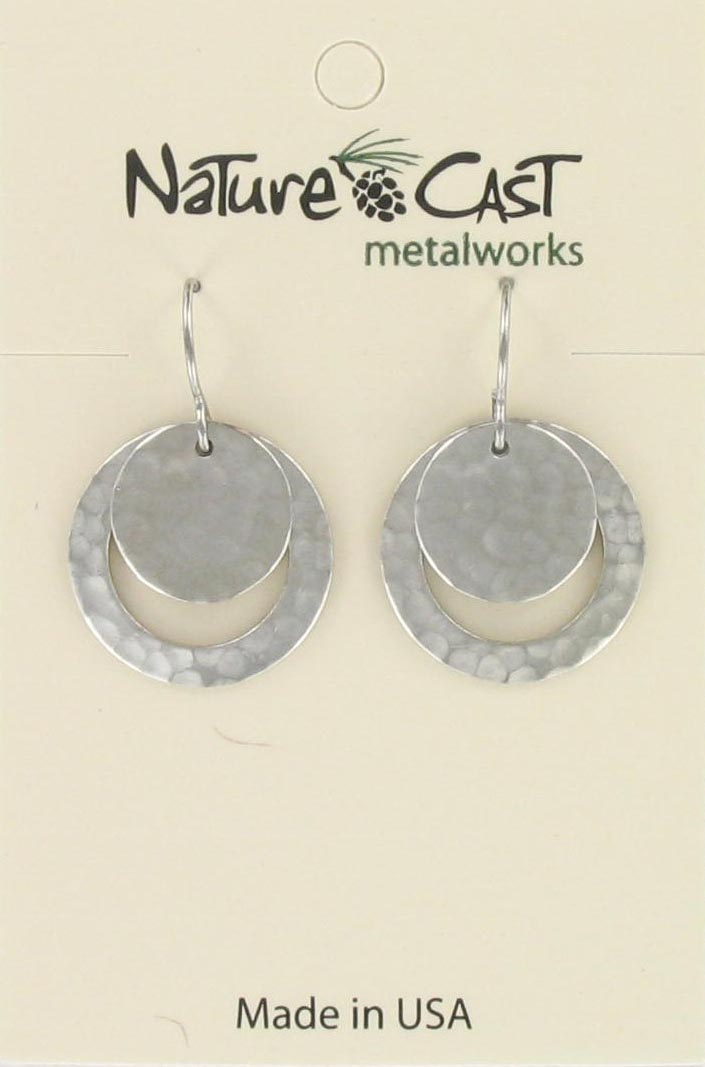 Earring dangle hammered disc and circle