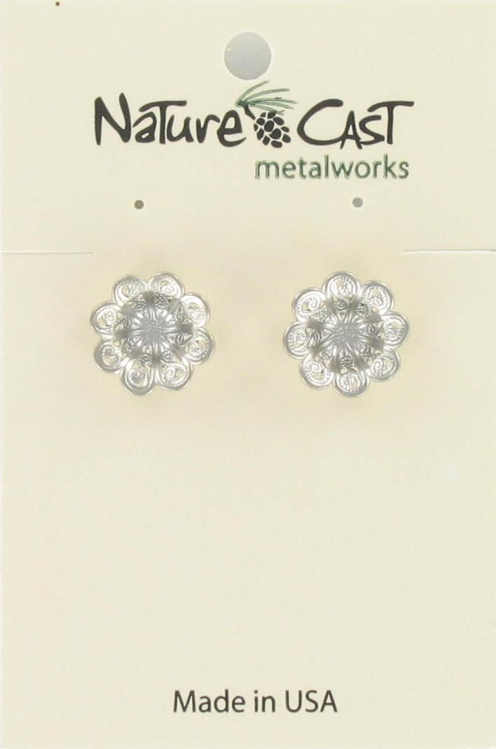 Earring post filigree flower