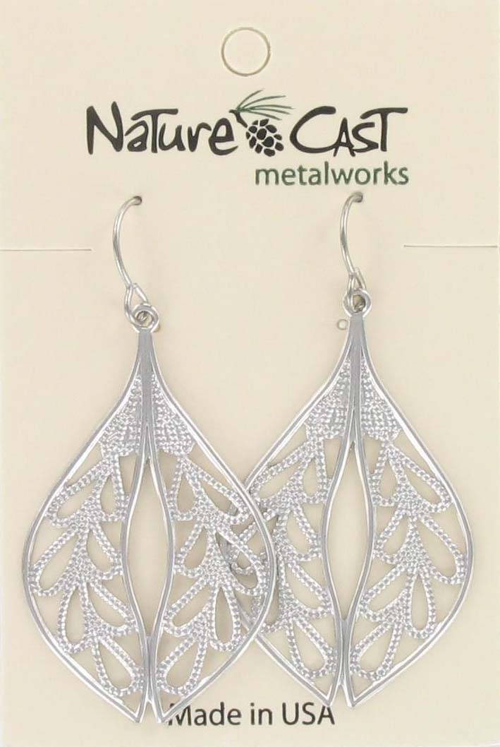 Earring dangle filigree oval leaf THUMBNAIL