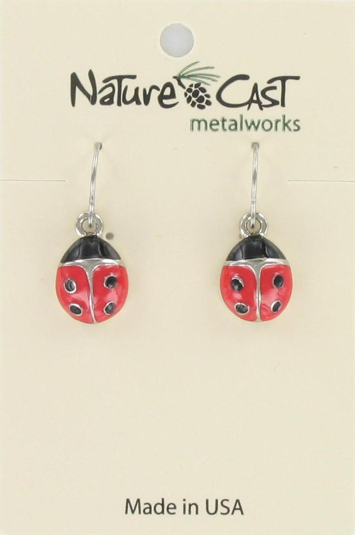 Earring dangle enamel lady bug