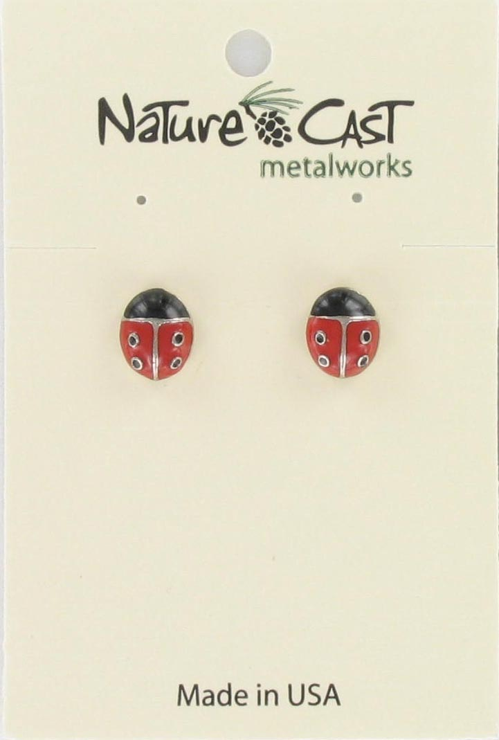 Earring post enamel lady bug