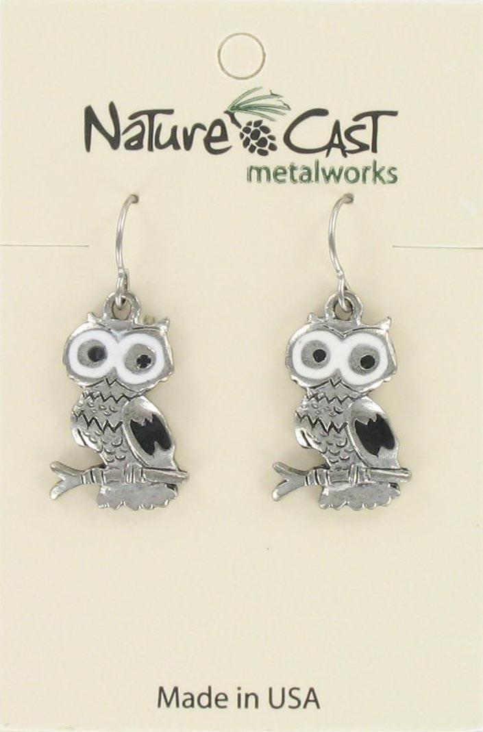 Earring dangle enamel owl THUMBNAIL