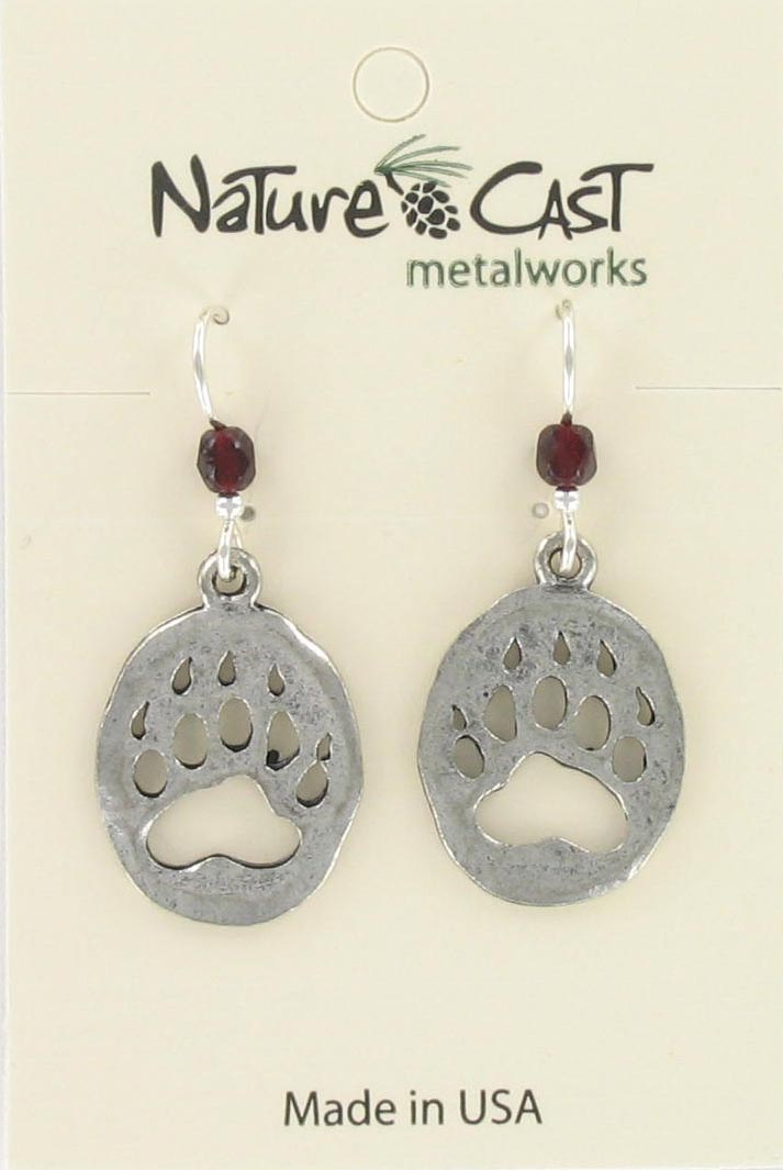 Earring dangle cutout bear paw MAIN