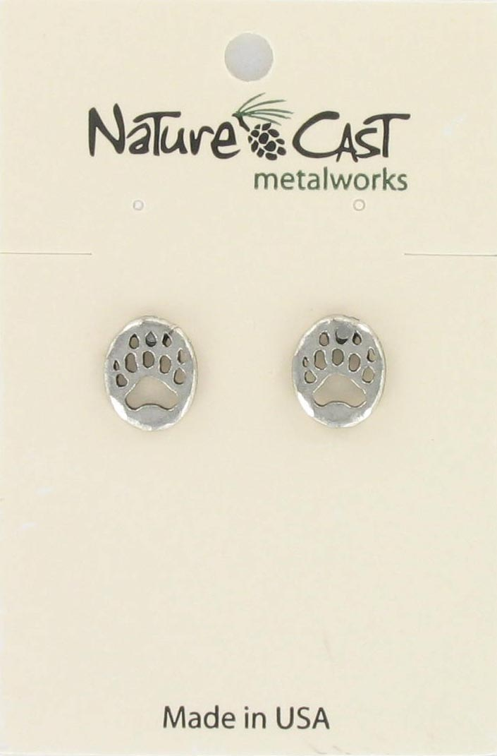 Earring post cutout bear paw_THUMBNAIL