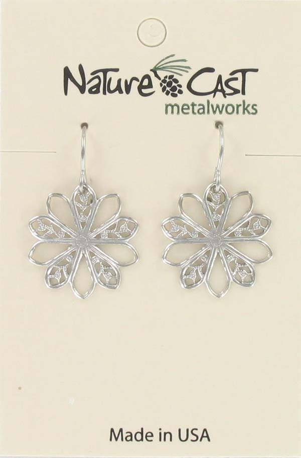 Earring dangle 20mm filigree flower THUMBNAIL
