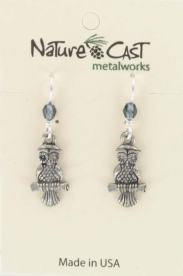 Earring dangle owl on branch THUMBNAIL