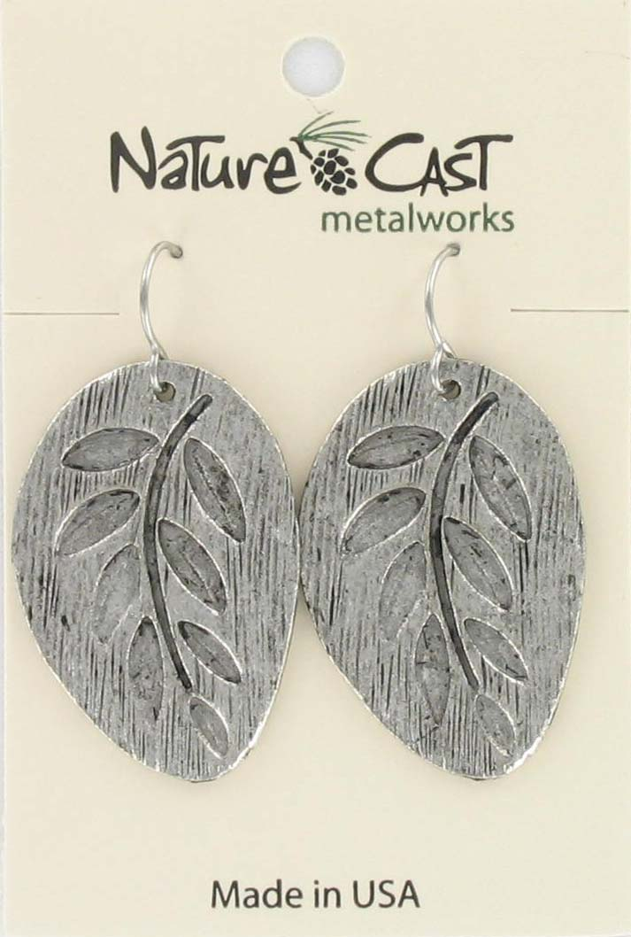 Earring dangle embossed leaf