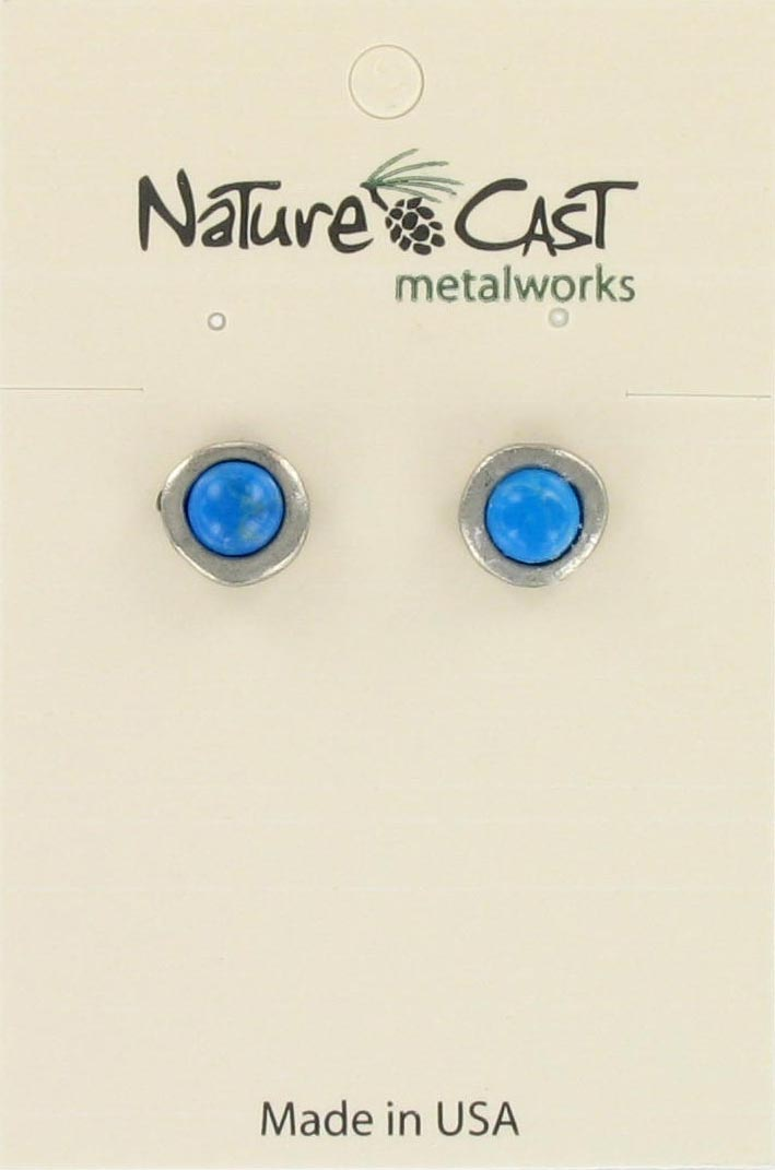 Earring post w turq stone inset