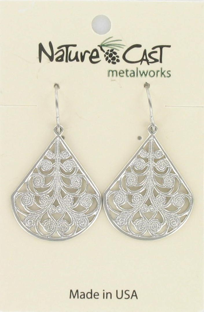 Earring dangle teardrop filigree spirals THUMBNAIL