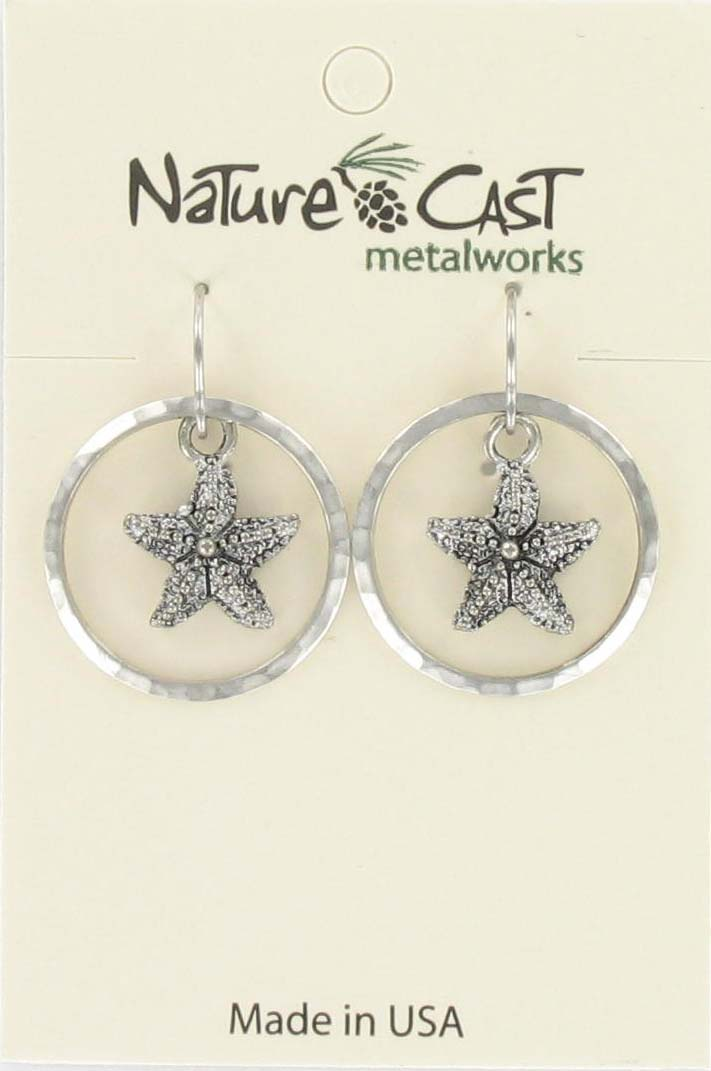 Earring dangle starfish in circle THUMBNAIL