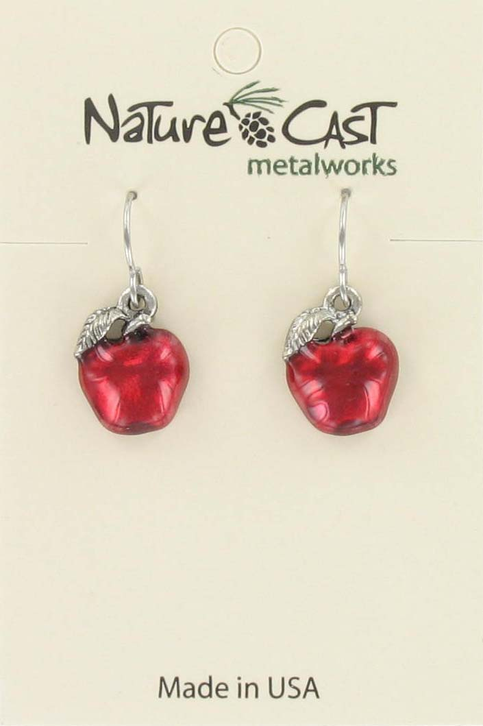 Earring dangle red enamel apple