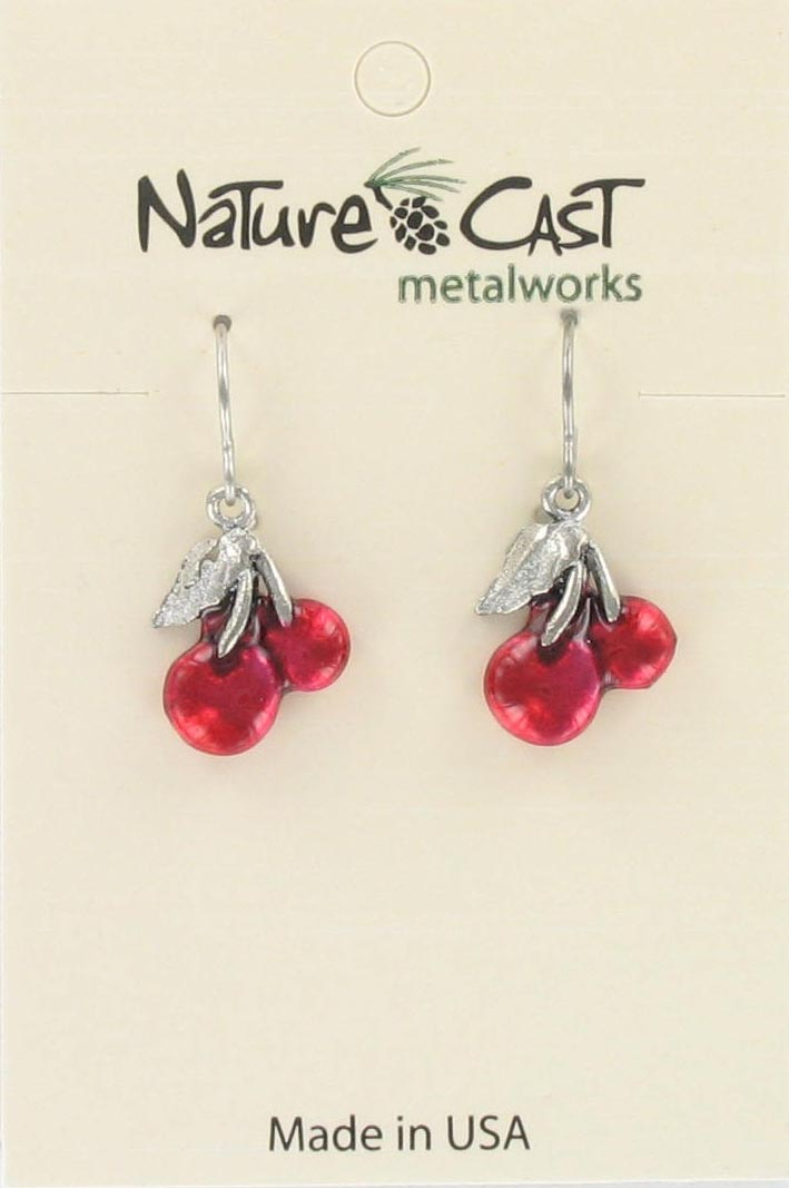 Earring dangle red enamel cherries