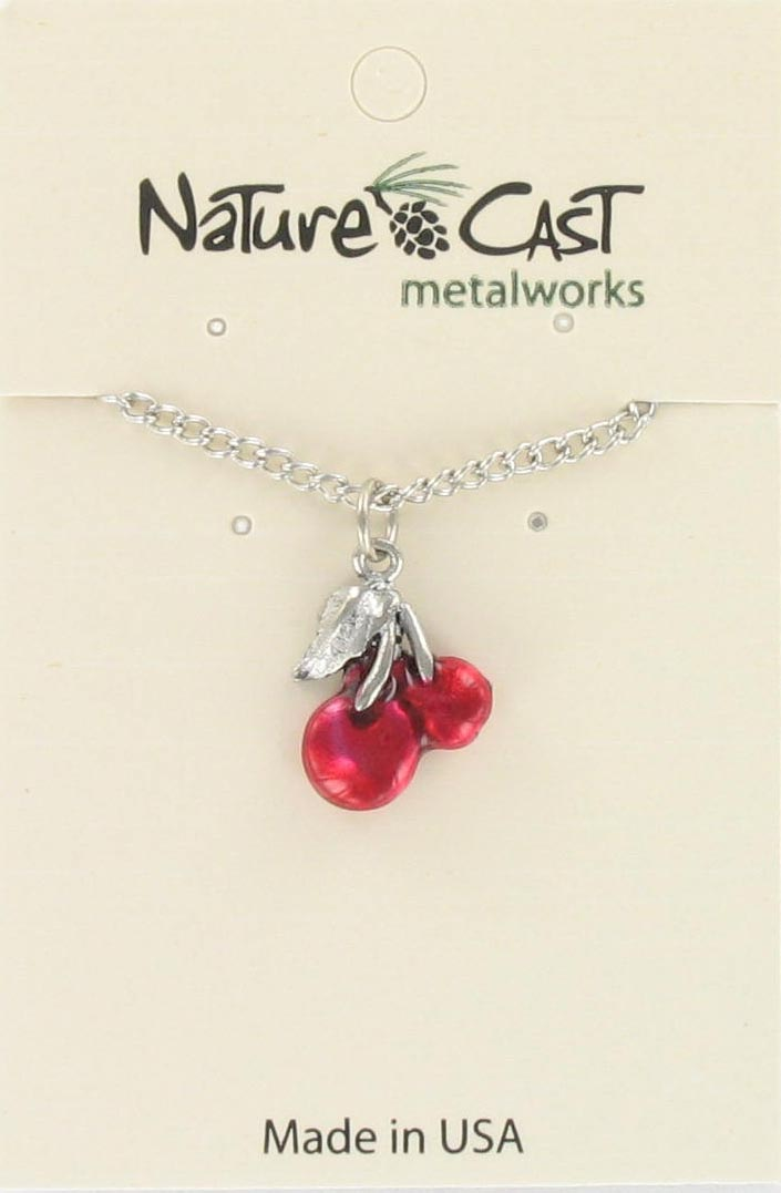 "Pendant red enamel cherries w/ 18"" chain"