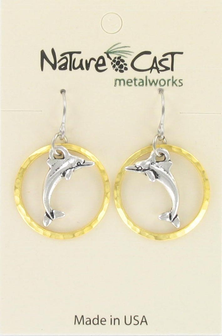 Earring dangle dolphin in gold circle