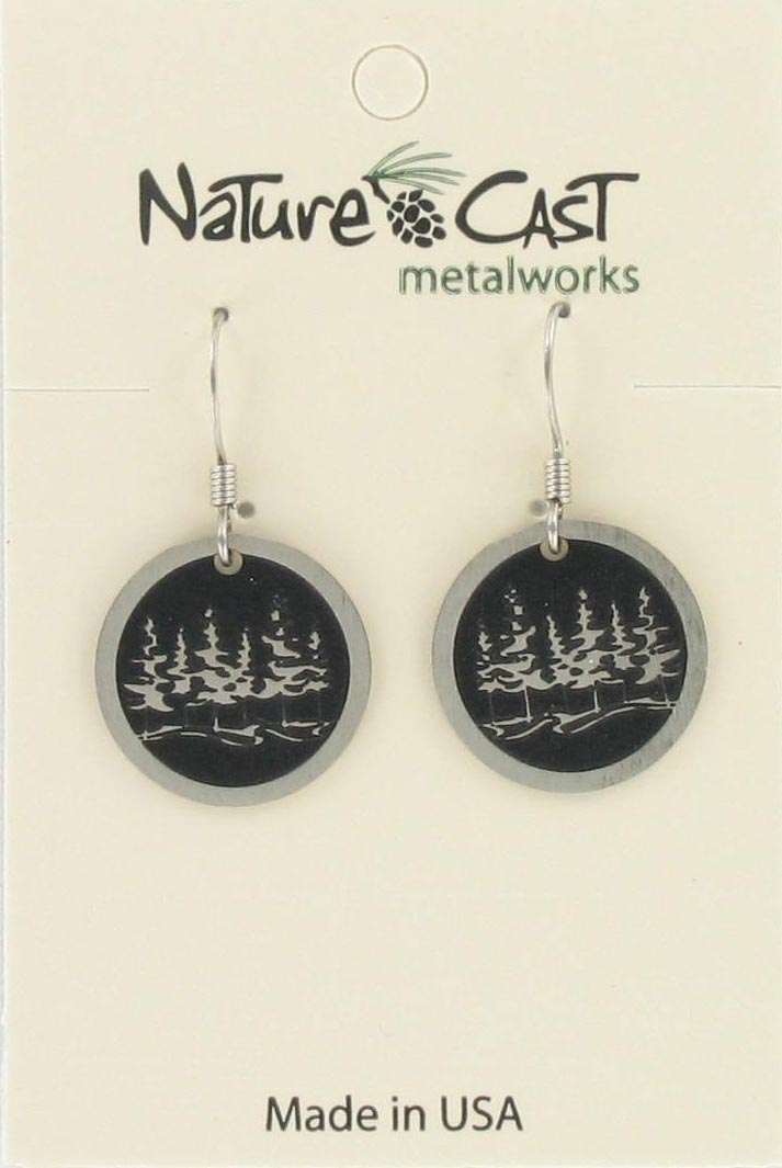 Earring dangle trees on round disc THUMBNAIL