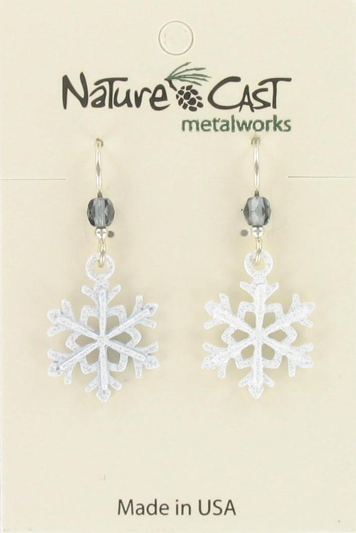 Earring dangle white glitter snowflake