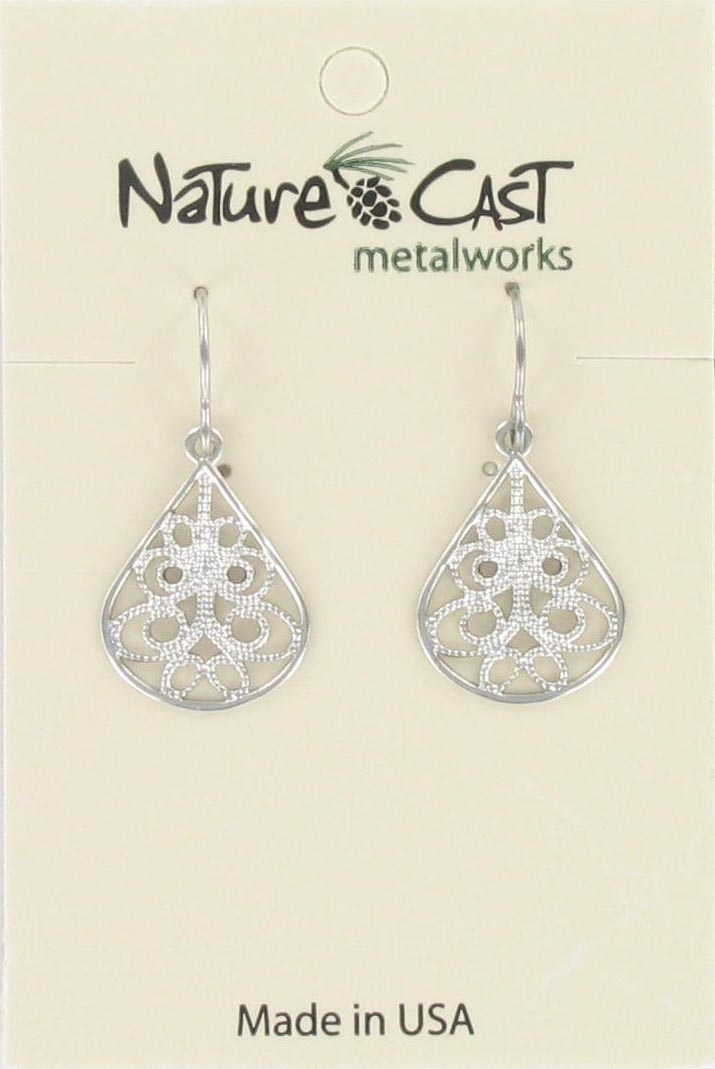 Earring dangle small filigree teardrop