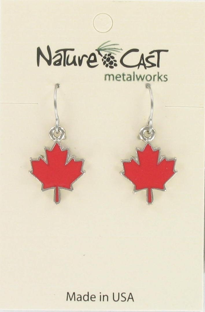 Earring dangle red enamel maple leaf