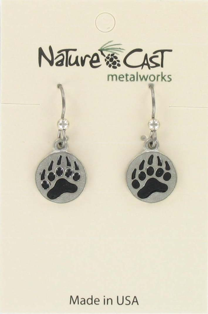 Earring dangle enamel bear paw