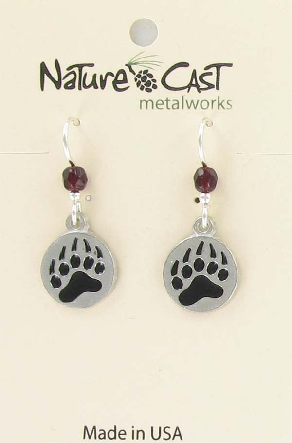 Earring dangle enamel bear paw THUMBNAIL