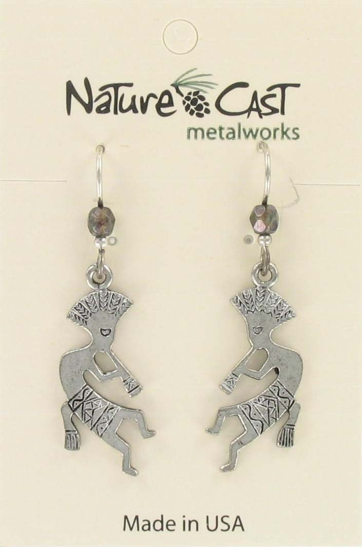 Earring dangle flat kokopelli THUMBNAIL