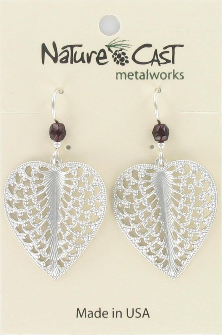 Earring dangle filigree heart THUMBNAIL