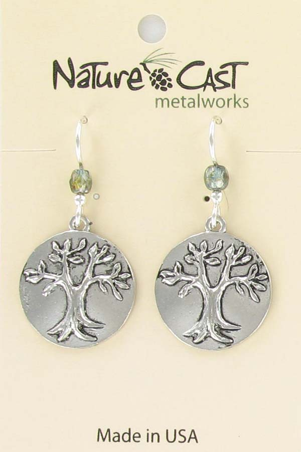 Earring dangle tree of life disc