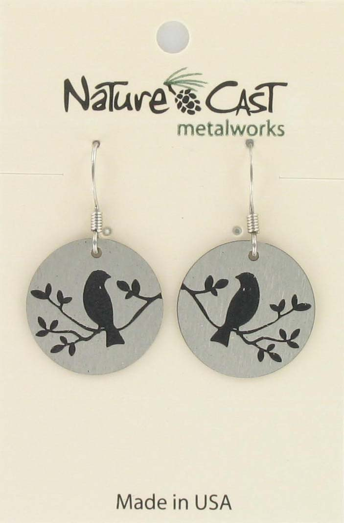Earring dangle bird on branch on circle disc THUMBNAIL