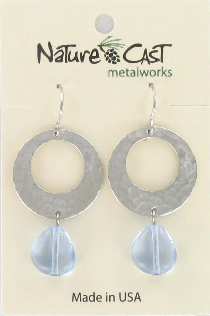 Earring dangle uneven hammered circle with blue drop