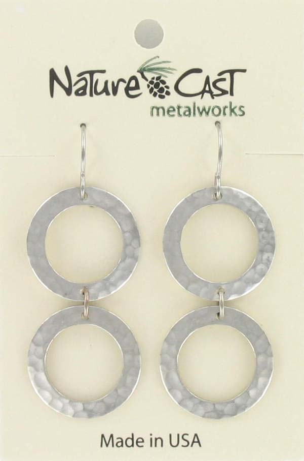 Earring dangle hammered double open circles