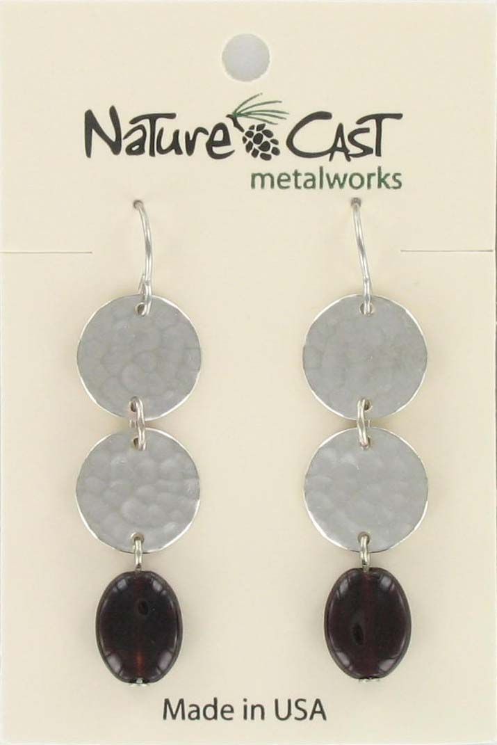 Earring dangle dble circles w/garnet color drop