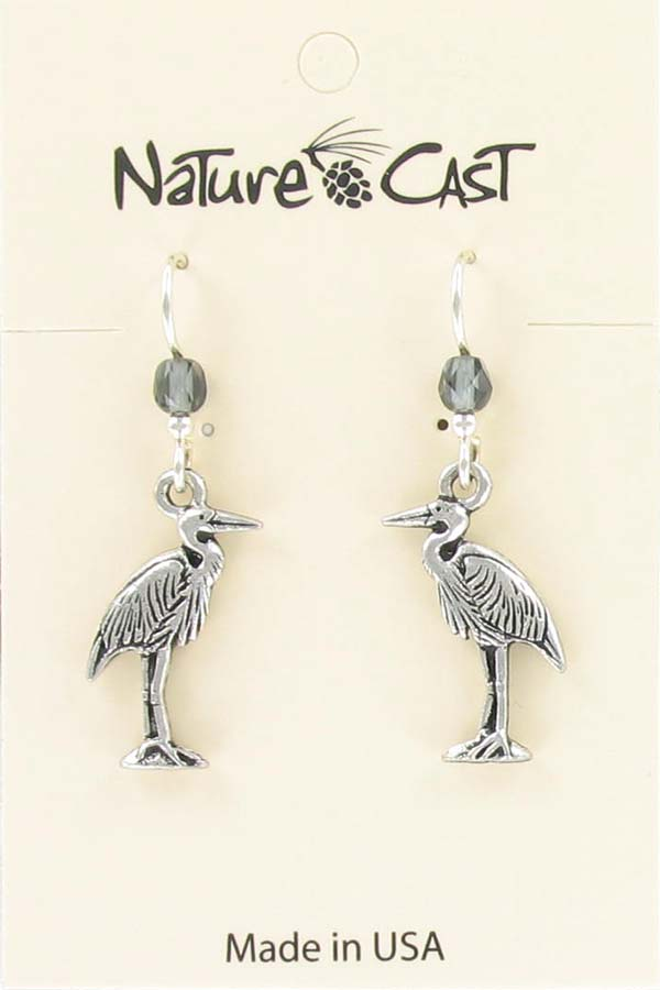 Earring dangle heron THUMBNAIL