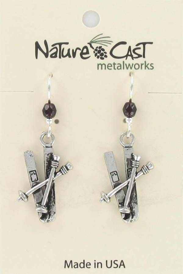 Earring dangle ski with poles