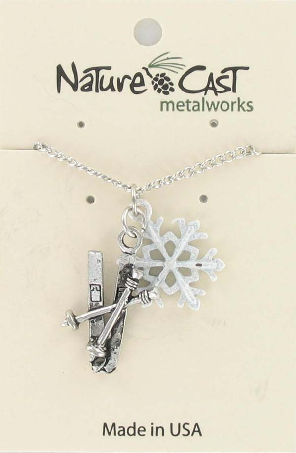 "Pendant skis and snowflake w/18"" chain"