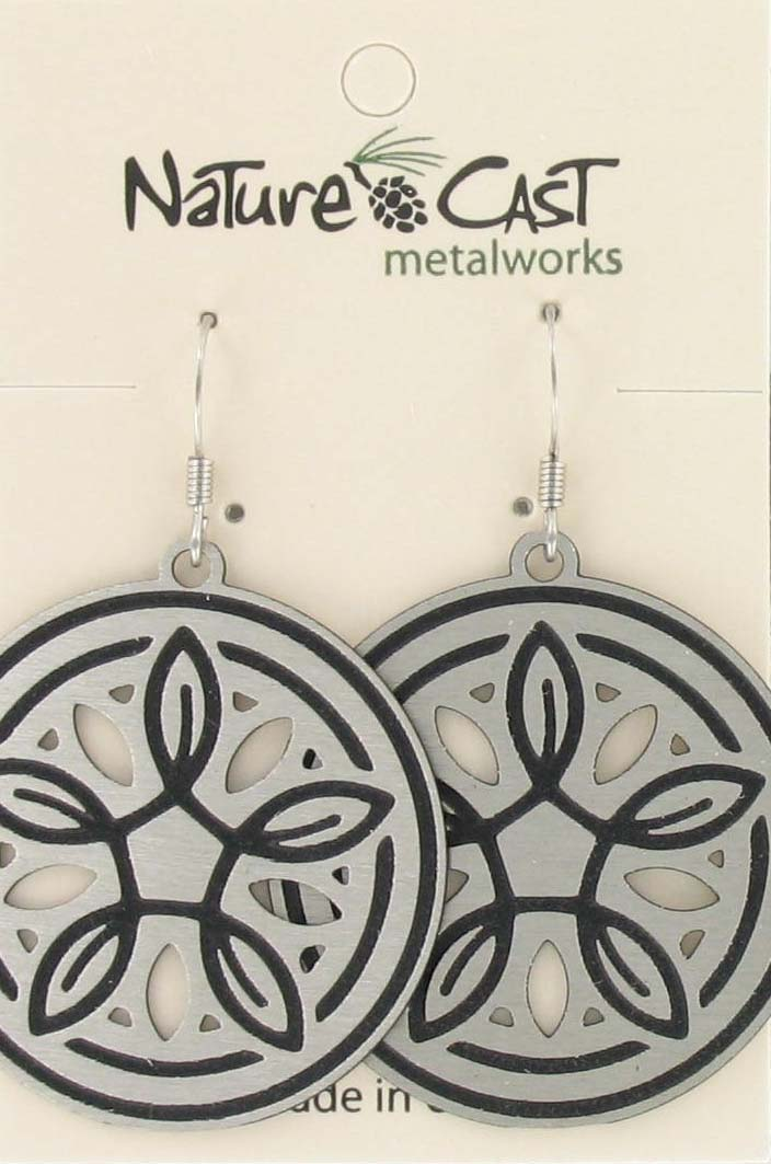 Earring dangle 33mm disc with leaves and cutouts THUMBNAIL