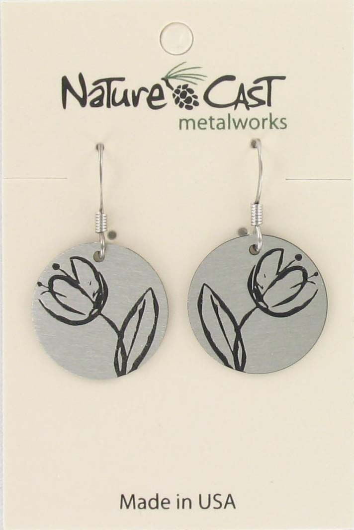 Earring dangle tulip disc