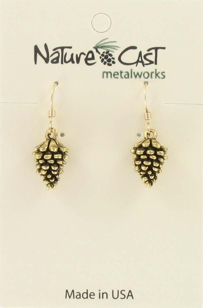 Earring dangle pine cone gold tone