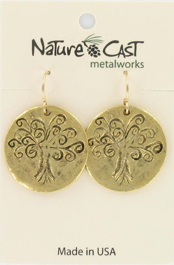 Earring dangle  tree of life gold tone THUMBNAIL