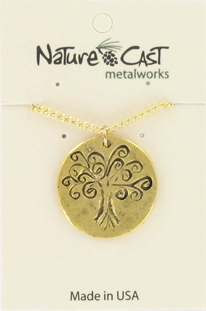 "Pendant tree of life gold tone w/18"" chain"