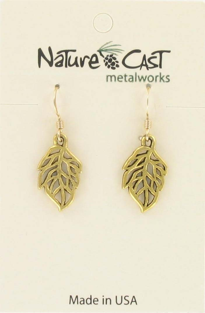 Earring dangle openwork leaf gold tone THUMBNAIL