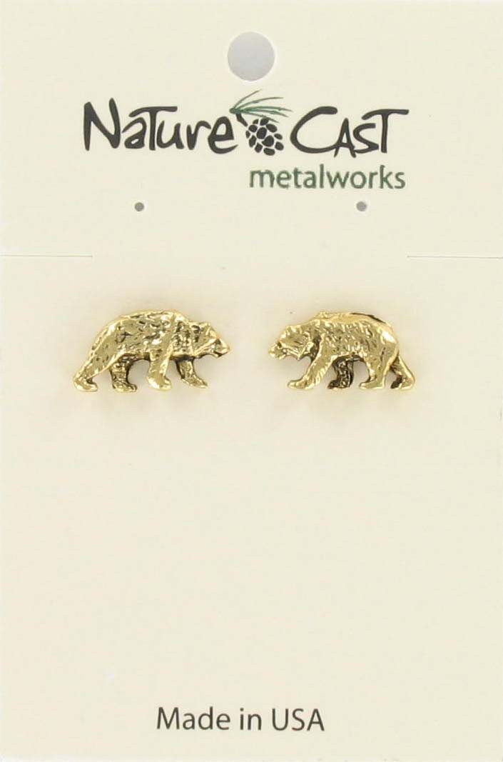 Earring post bear gold tone