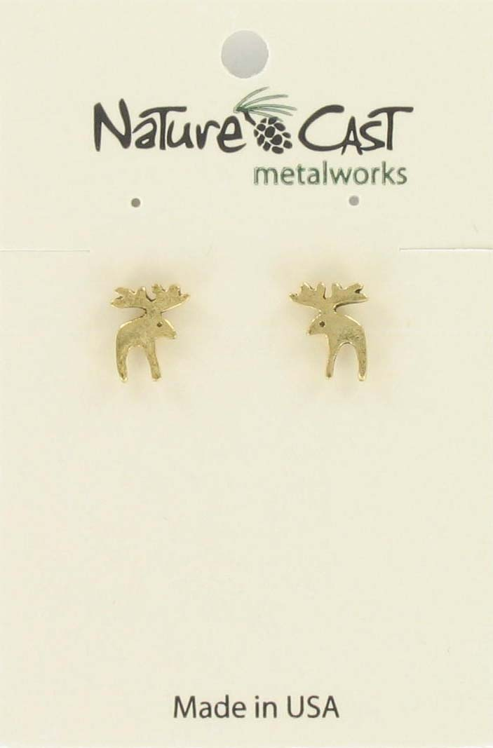 Earring post contemporary moose gold tone THUMBNAIL