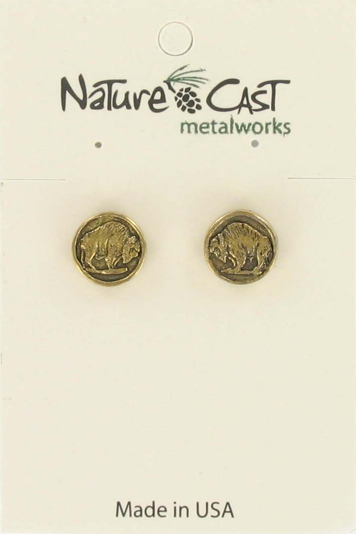 Earring post bison coin gold tone
