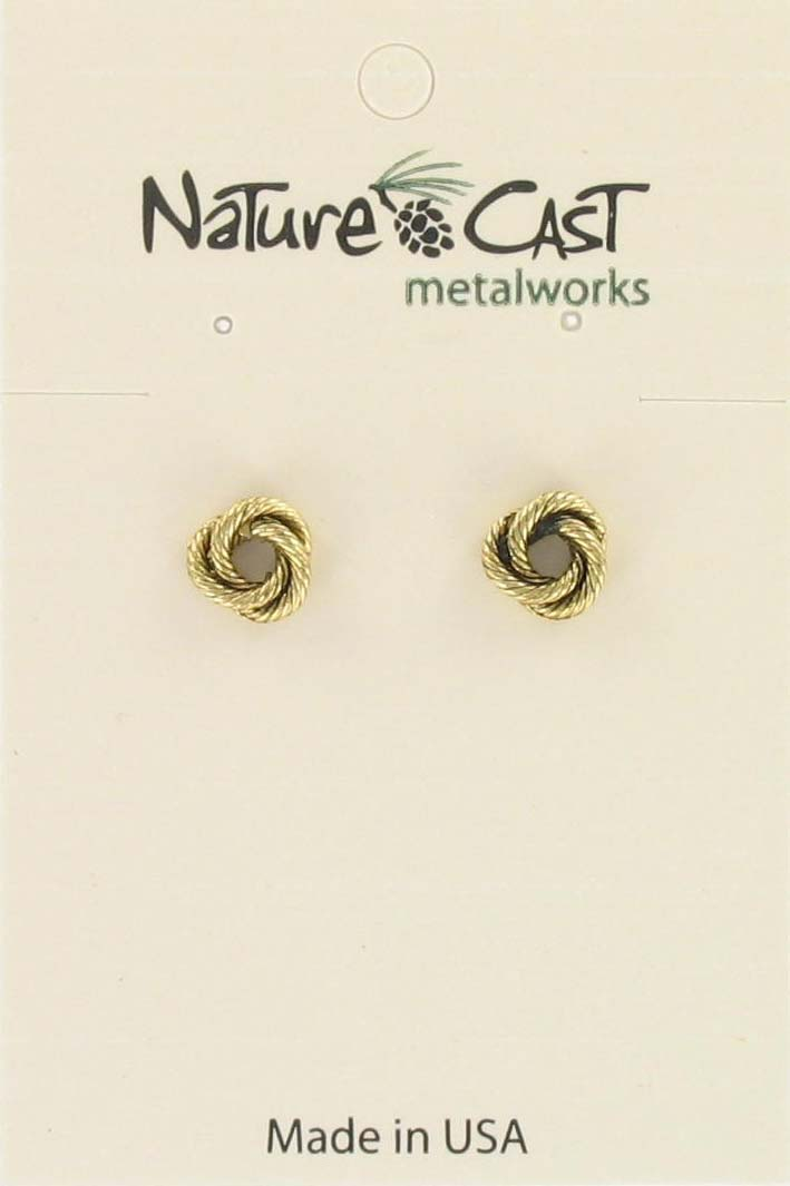 Earring post knot gold tone THUMBNAIL