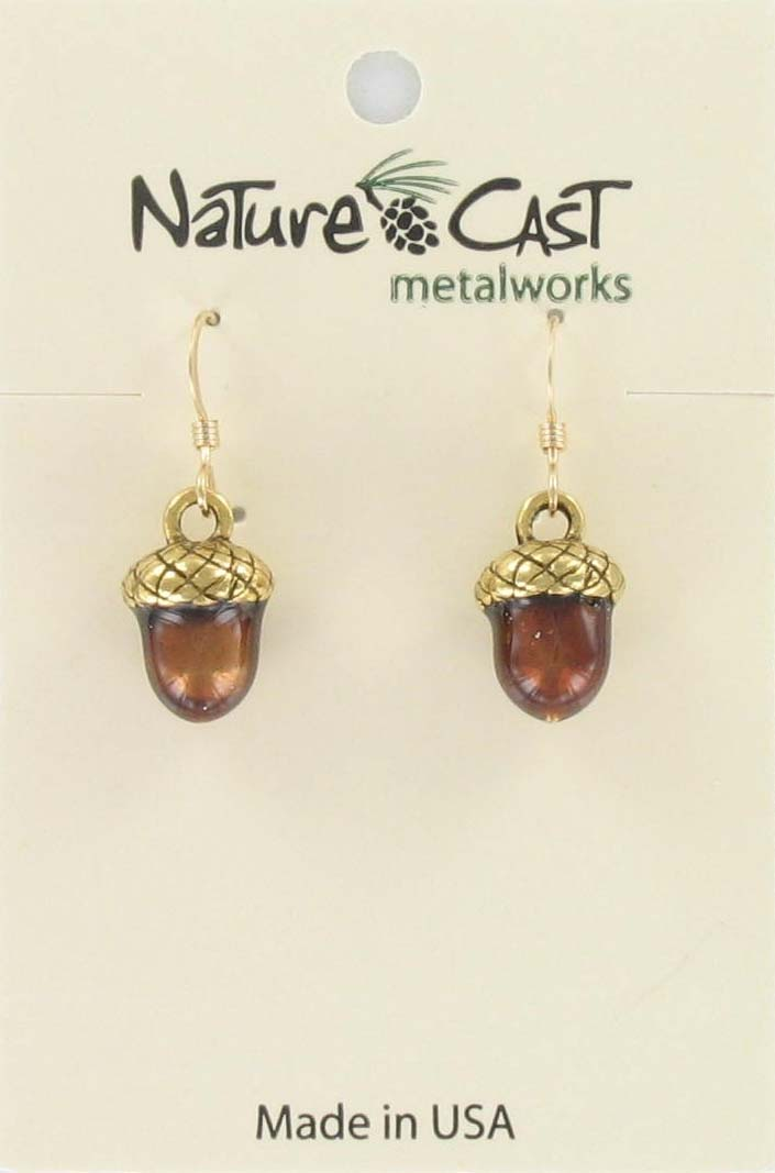 Earring dangle enamel acorn gold tone
