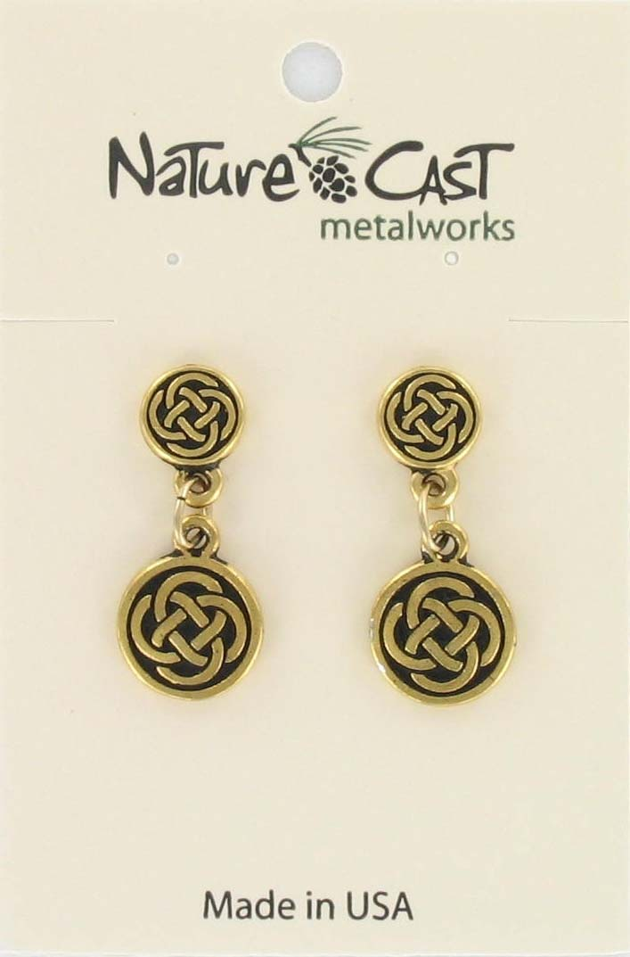 Earring post dangle celtic gold tone THUMBNAIL