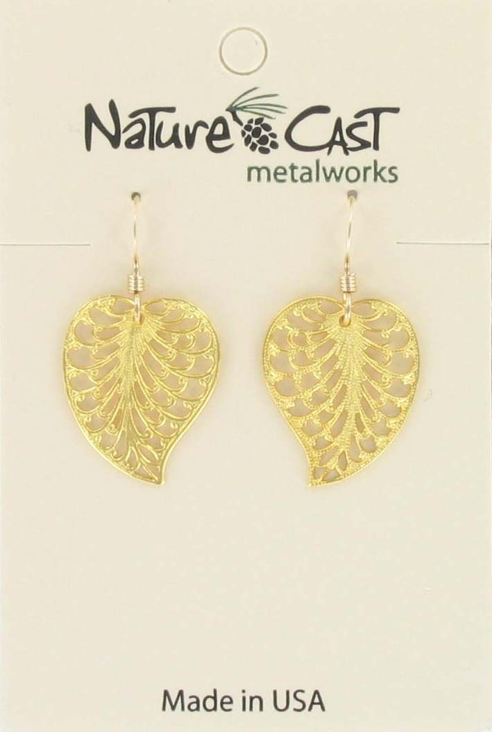 Earring dangle filigree leaf gold plate