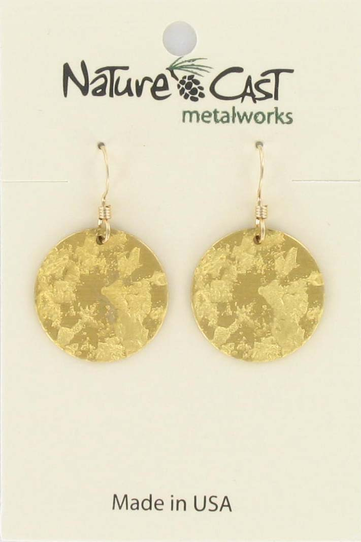 Earring dangle textured disc gold plate
