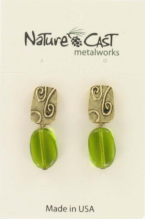 Earring post dangle w/ green drop gold tone
