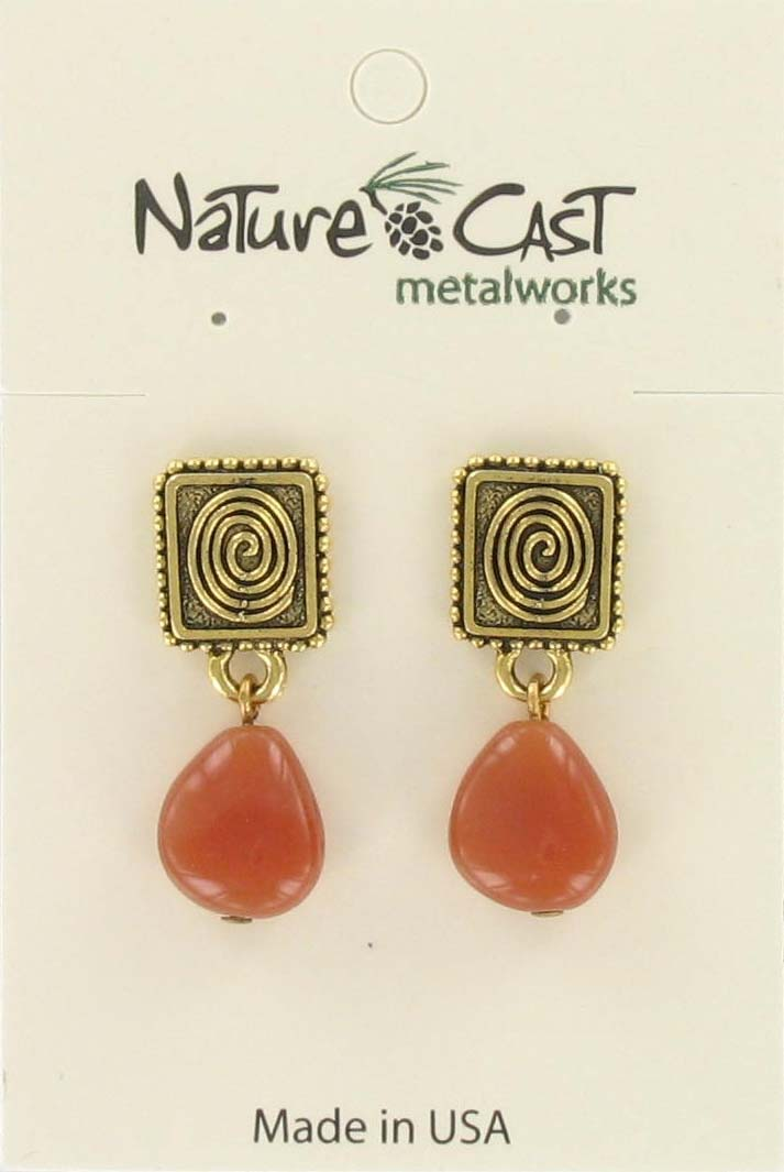 Earring post dangle swirl w/orange drop gold tone_THUMBNAIL
